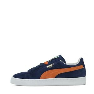 Puma Suede Classic Junior Youth Trainers Shoes Indigo Orange UK 4
