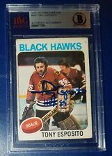 BECKETT-BAS 1975-76 OPC TONY ESPOSITO AUTO vintage SIGNED BLACKHAWKS CARD 577330