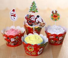 Cupcake Cup Cake Decorating,Toppers Wrappers PARTY DECORATION, Christmas figure