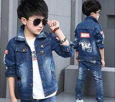 Boys Kids Denim Long Sleeve Pocket Button Biker Jacket Coat 2 - 11 Years