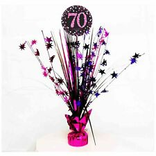 70th Birthday Spray Centrepiece Table Decoration Black Pink Purple Age 70 Party