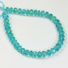 "6.8mm-7mm Neon Blue Apatite Faceted Rondelle Beads 7.5"" Strand"