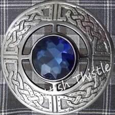 Scottish Kilt Fly Plaid Brooch Antique Blue Stone/Ladies Celtic Pin & Brooches
