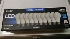 10 Feit 100W equivalent LED Daylight light bulbs 15 watts 5000K NON-Dimmable