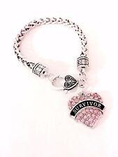 Charm Bracelet Survivor Pink Breast Cancer Awareness Gift Best Friend Sister Mom