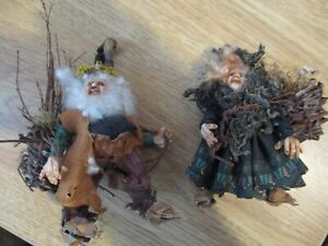 """Pair Helen Hartzell 2 Woodsy Woodland Elf Elves 3 1/2"""" FABULOUS FROM A COLLECTOR"""