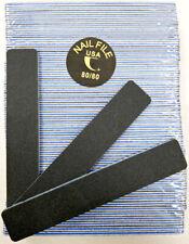 """50pc Nail File Black Jumbo 80/80 Grit Square Shape 7x1"""" Plastic Sanding File"""