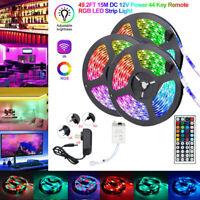 15M/10M/5M RGB 300LEDs 3528 LED Strip Light SMD+44Key Remote+12V Power Full Kit