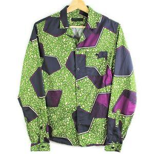 Burberry Prorsum Button Up Shirt Green Purple Multicolor Printed Men's 15 1/2-39