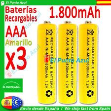 3 Pilas AAA Recargables 1800mAh ★ Altísima Capacidad - 1,2 voltios ★ Battery pcs