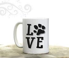 LOVE Paw Print Coffee Mug Cat Dog Pet Lover Fur Baby 15 oz Coffee Cup