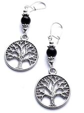 SILVER FILIGREE 'TREE OF LIFE' & BLACK DANGLE EARRINGS EXCELLENT QUALITY