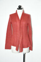 Eileen Fisher Dark Reddish Brown Fuzzy Mohair Wool Wrap Cardigan Sweater Women S