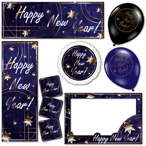 Gold Purple Happy New Year Stylish Banners Decorations Balloons Party Supplies