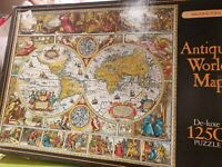 Waddingtons 1250 Piece Jigsaw Puzzle antique world map many listed