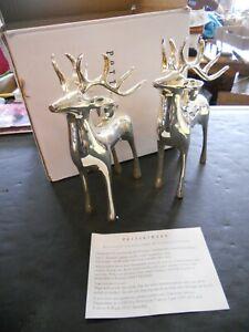 "Pottery Barn Silver Plated Reindeer Deer 7"" Candle Candelabra (G)"