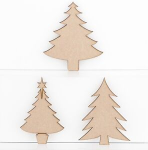 Wooden MDF Christmas Tree Shapes 3mm Thick Embellishments Decoration Craft