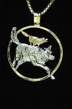 "Wolves Pendant & Necklace Hand Cut Medallion 1-1/8"" diameter( # 637 )"