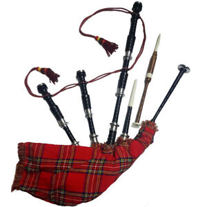 HM HIGHLAND BAGPIPE ROSEWOOD BLACK COLOR SILVER PLAIN MOUNTS/SCOTTISH BAGPIPES