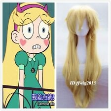 Star Vs the Forces Of Evil Wig Long Blonde fluffy cosplay Wigs +a wig cap
