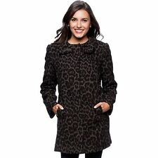 New Betsey Johnson Women Collarless Leopard Print Wool Blend Coat Jacket Large