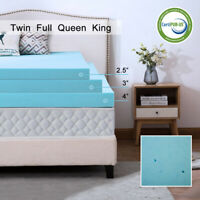Gel Memory Foam Mattress 2.5/3/4 Inch Blue Topper Ventilated Dot King Twin Full