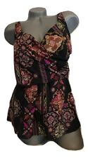 NWT MIRACLESUIT 14 2 PC tankini set swimsuit black multi looser fit to hide