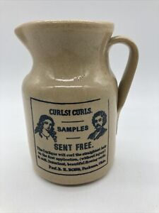 """Pottery Stoneware Crock Jug Pitcher Made in England 7.25"""" Curls! Curls!"""