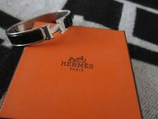 HERMES Clic Clac  H Bracelet Authentic BLACK SILVER  with Box