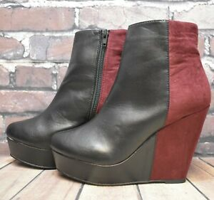 Womens Even&Odd Black & Red Zip Up High Heel Ankle Boots UK 5 EUR 38 RRP - £29