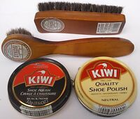 KIWI BLACK NEUTRAL SHOE POLISH CREAM, SHINE BRUSH  & DAUBER KIT , SELECT: Items