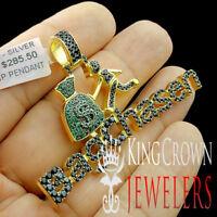 Men's 10K Yellow Gold On Real Silver MONEY BAG CHASEN Charm Simu Diamond Pendant