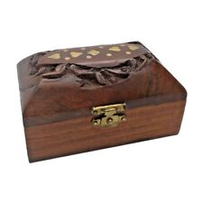Mini Wooden Gift Box Jewellery Indian Hand Carved Ornament Mothers Day Gift