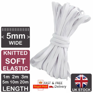 SOFT Knitted 5mm WHITE Flat Elastic Cord For Sewing Soft Elastic For Face Masks
