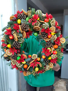 Fresh Christmas Holly Ring Wreath Decoration Extra Large Fruit Ring 25 inches