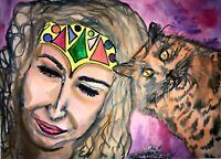 ORIGINAL Malerei A3 PAINTING abstract abstrakt FRAU WOMEN katze cat psy aquarell