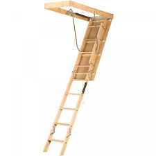 Attic Pull Down Ladder Folding Wood Stairs Ceiling Steps w/ Access Door