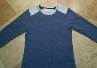 Tommy Bahama Crew Neck Fleece Pullover Sweater Cotton Blnd Blue Gray L