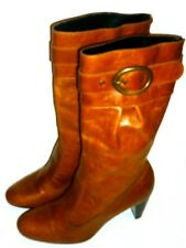 """NEW LOOK tan leather cowboy western pull-on boots 3"""" heels UK 6 EUR 39"""