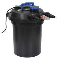 4000 Gallon Pressure Bio Filter 10000L 13W UV Sterilizer Light for Pond Black