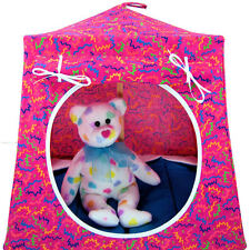 Pink, zig zag print Toy Play Camping Pop Up Tent, 2 Sleeping Bags, handmade