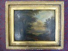 Antique Art Old Framed Oil painting board Landscape Gold Frame Paul Birl Bird