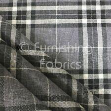 Light Grey Tartan Stripe Check Pattern Texture Weave Chenille Upholstery Fabric