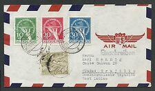 GERMANY,  Airmail Cover Hamburg 18.12.1950  Scott no. 9N57, 9NB1-3