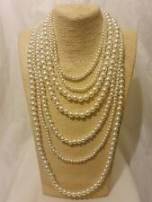 Statement Long Chunky Big Large Multi Strand Layered Bead Faux Pearl Necklace