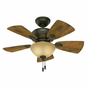 """Hunter Watson 34"""" Indoor Home Ceiling Fan with LED Light Bronze"""