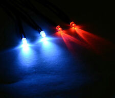 2x Red 2x White R/C Buggy Car Truck LED 3mm Light Kit LED's Switch + PP3 Clip
