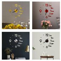New Modern DIY Large Wall Clock 3D Mirror Surface Sticker Home Office Decor