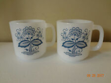 Set of 2 Vintage Glasbake Blue and White Mugs Cups