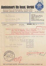 WERDOHL, Brief 1938, Aluminiumwerk Otto Honsel Haus-Küchengeräte
